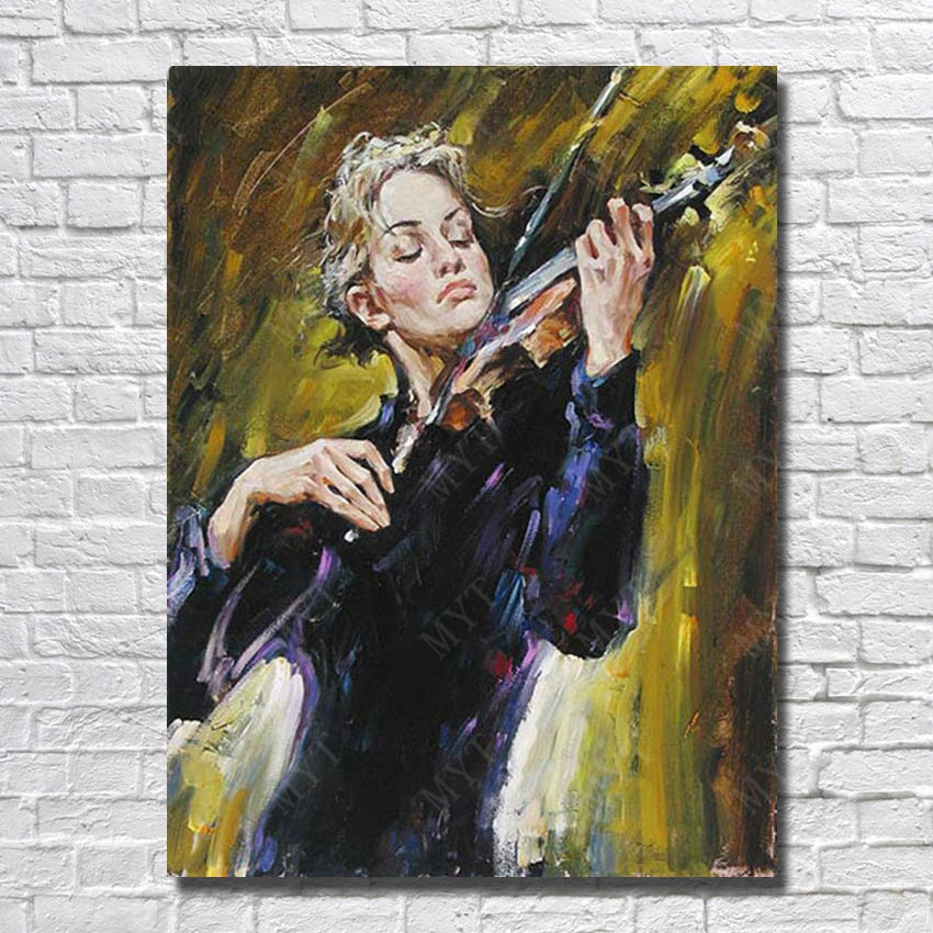 Beautiful woman play musical instruments canvas oil painting hand painted modern figure beauty woman picture