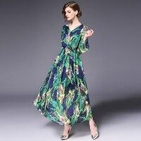 Green Floral Print Bohemian Dress Summer Fit Waist Long Chiffon Beach Holiday Sundress Vestidos Mujer Robe