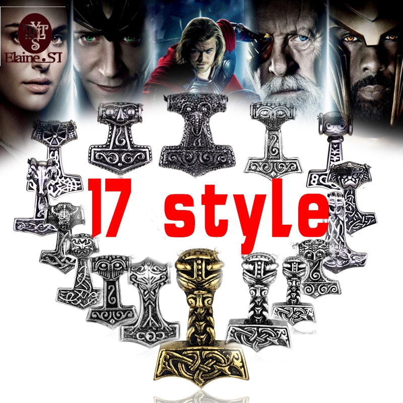 free shipping sect silver plated thor hammer knot pendant necklace viking norse odin jewelry for
