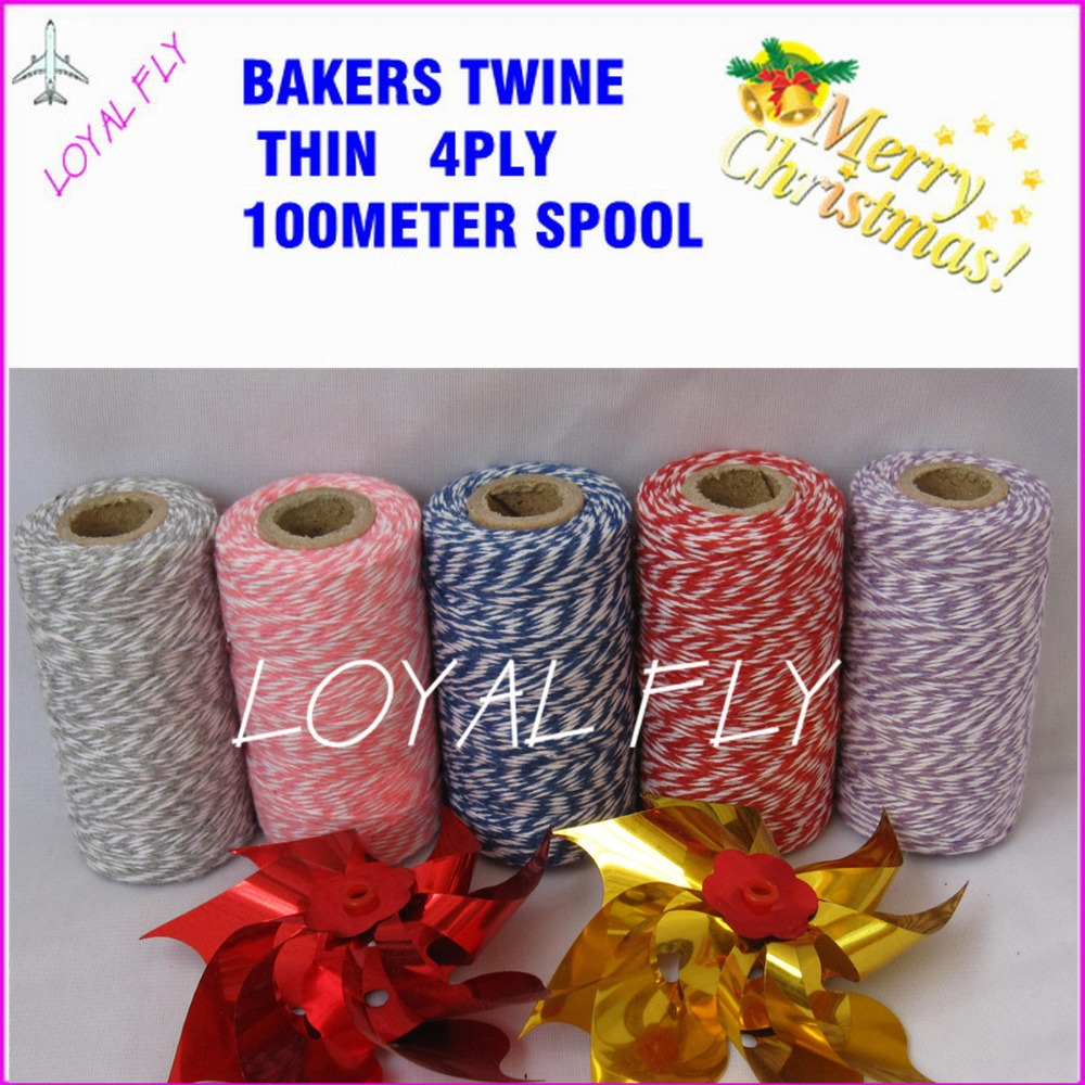 100 stks / partij bakkers touw dunne 4ply 100 m / spool 22 kleur - Feestversiering en feestartikelen - Foto 2