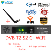 DVB T2 S2 DVB C 3 in 1 combined hd digital ground Satellite receiver support AC3 Cccam Youtube IPTV Biss set top boxes with wifi
