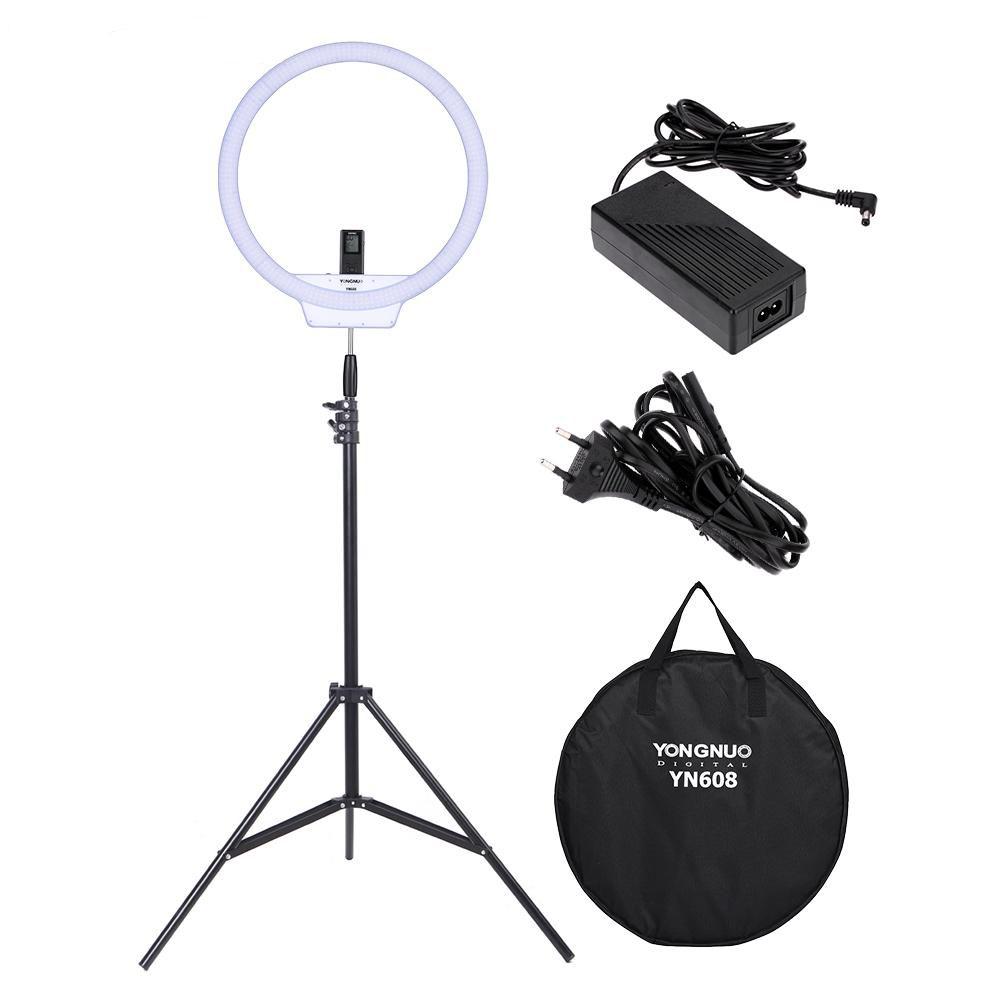 Prix pour Yongnuo yn608 led light ring 3200 k ~ 5500 k sans fil à distance vidéo lumière cri> 95 photo lampe avec 2 m lumière stand et puissance adaptateur