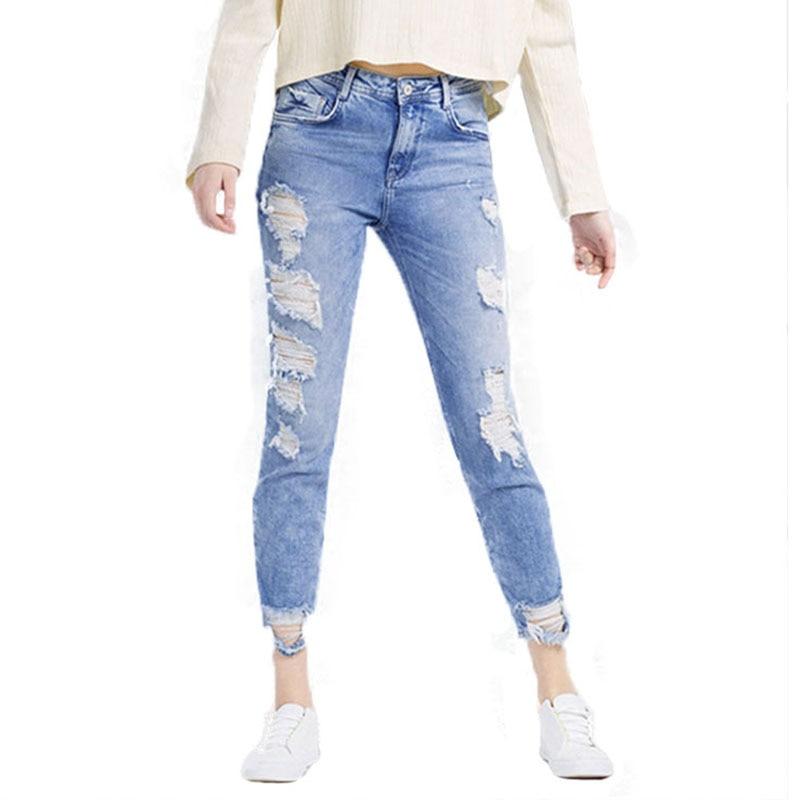 2018 Classic Distressed Jeans Women Mid Waist Stretchy Ripped True Denim Pants Skinny Pencil Jeans Woman