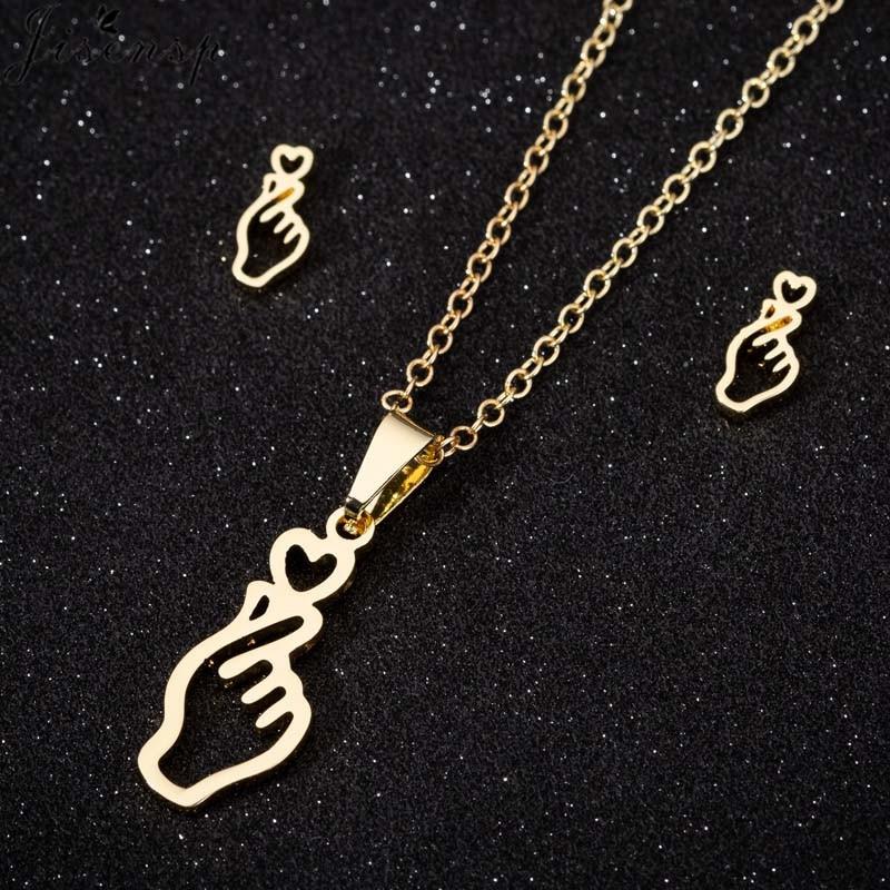 Jisensp Korean Style Fashion Finger Heart Gesture Stainless Steel Jewelry Sets Lovely Gesture Necklace Earrings for Women