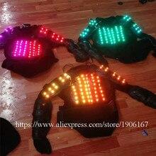 Красочные RGB подсветкой Панцири мигает Костюмы для бальных танцев костюм Световой Робот Костюм Одежда для танцев Одежда для вечеринки DJ этап ТВ Show