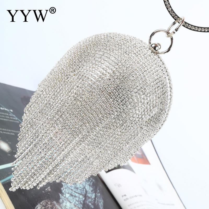Image 2 - Sliver Diamonds Rhinestone Round Ball Evening Bags For Women 2018 Fashion Mini Tassels Clutch Bag Ladies Ring Handbag Clutches-in Top-Handle Bags from Luggage & Bags