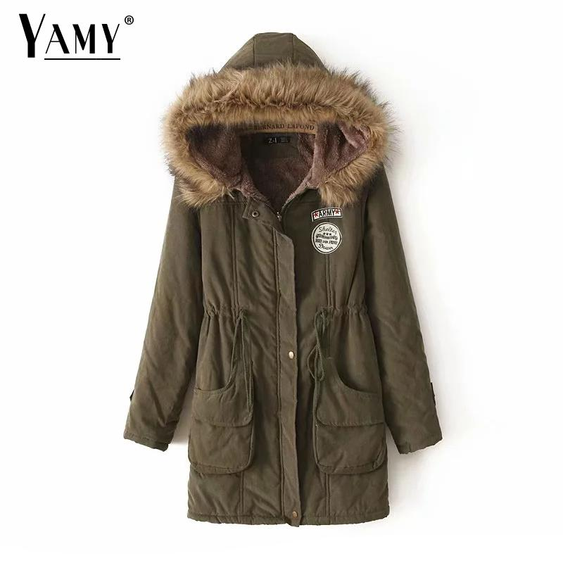 2018 Army   Parkas   Female Women Winter Coat Thickening Cotton Winter Jacket Womens Outwear   Parkas   for Women Winter