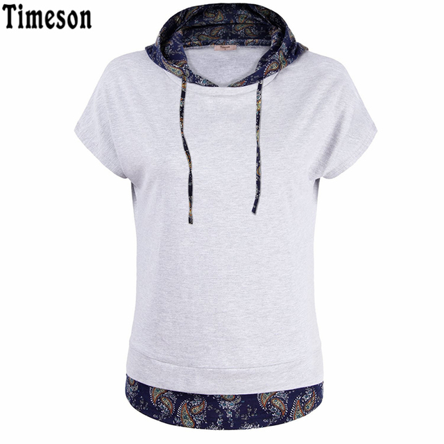 T-Shirt 2017 Algodão Camiseta Femme Causal Curto Bat Luva Dupla Camada Com Capuz Tshirt Mulheres Floral Impressão Túnica Pulôver Tops