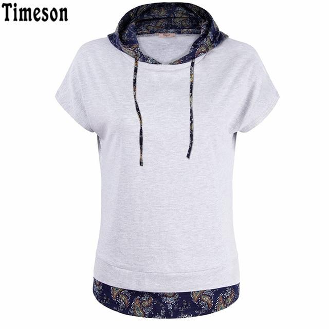 T-Shirt 2017 Cotton Tee Shirt  Femme Causal Short Bat Sleeve Double Layered Hooded Tshirt Women Floral Print Tunic Pullover Tops