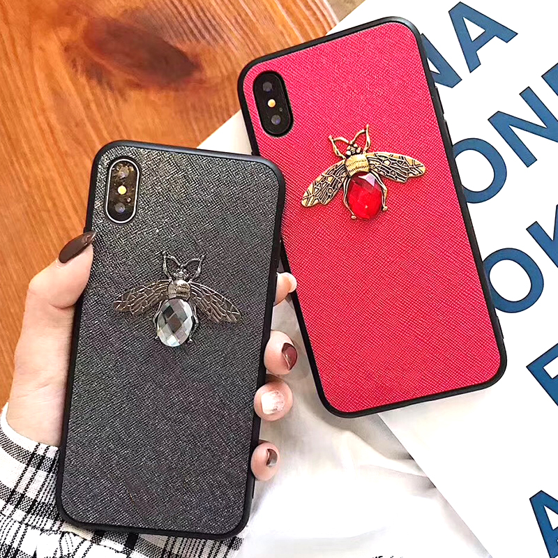 Luxury Fashion brand Diamond Bee Glitter soft case for iphone 6 S 7 8 plus X XR XS Max Cute Hard Cover for iphone 7 8 6S 5 5S SE (5)
