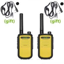 2 pces original wln KD C10 walkie talkie uhf 400 470 mhz 16 canais mini rádio em dois sentidos rádio ham amador