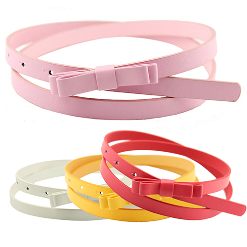 New Women's Candy Color 2 Layers Bowknot Thin Narrow   Belt   PU Leather Waistband Strap