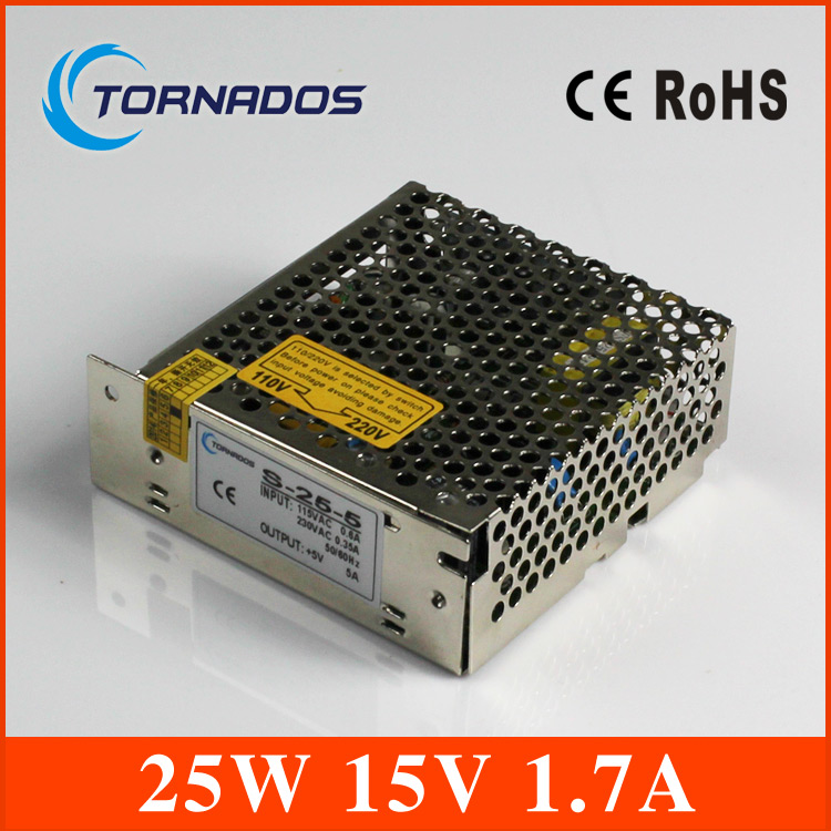 led power supply Single Output Switching power supply 15v 1.7A  25W ac dc converter variable dc voltage regulator S-25-15