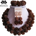 Fashion Nigeria Wedding Brown african beads jewelry set Crystal Plastic pearl necklace Bridal Jewelry Sets Free shipping VV-162
