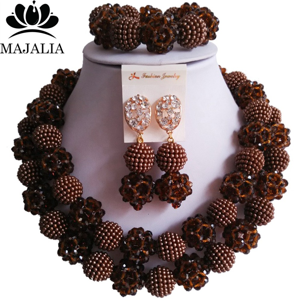Fashion Nigeria Wedding Brown African Beads Jewelry Set Crystal Plastic  Pearl Necklace Bridal Jewelry Sets Free