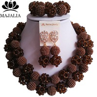 Fashion Nigeria Wedding Brown african beads jewelry set Crystal Plastic pearl necklace Bridal Jewelry Sets Free shipping VV 162