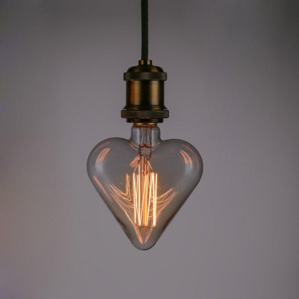 E27 Base 40W 220V Heart Shape Edison Vintage Style Tungsten Wire Light Bulbs Festival Romantic Ampoules Decorative Lights