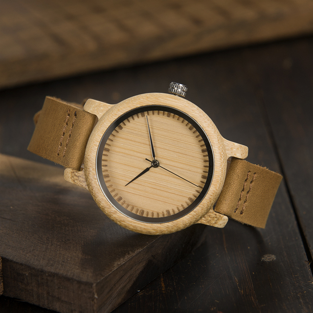 BOBO BIRD Lovers' Watches Women Relogio Feminino Bamboo Wood Men Watch Leather Band Handmade Quartz Wristwatch erkek kol saati 4