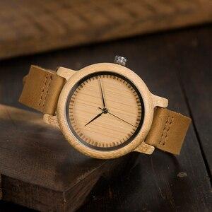 Image 4 - BOBO BIRD Lovers Watches Women Relogio Feminino Bamboo Wood Men Watch Leather Band Handmade Quartz Wristwatch erkek kol saati