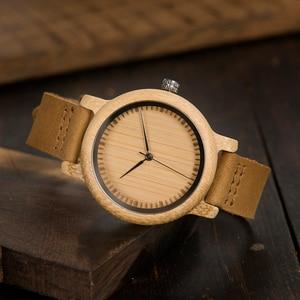 Image 4 - BOBO kuş severlerin saatler kadınlar Relogio Feminino bambu ahşap erkekler İzle deri Band el yapımı kuvars kol saati erkek kol saati