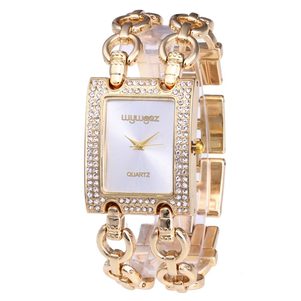 Relogio Feminino Women Round Full Diamond Bracelet Watch Quartz Movement Wrist Watch Luxury Gold Bracelet Femmes Montres 2019