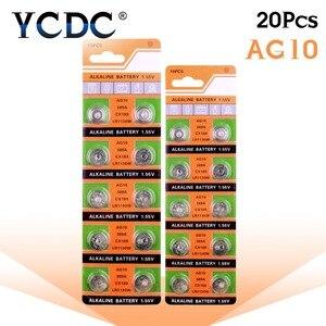 Image 2 - Дропшиппинг YCDC, 20 шт., батарейка AG10 LR1130 V10GA, Кнопочная монета для часов 189 389 390 LR54, лидер продаж + 50% скидка