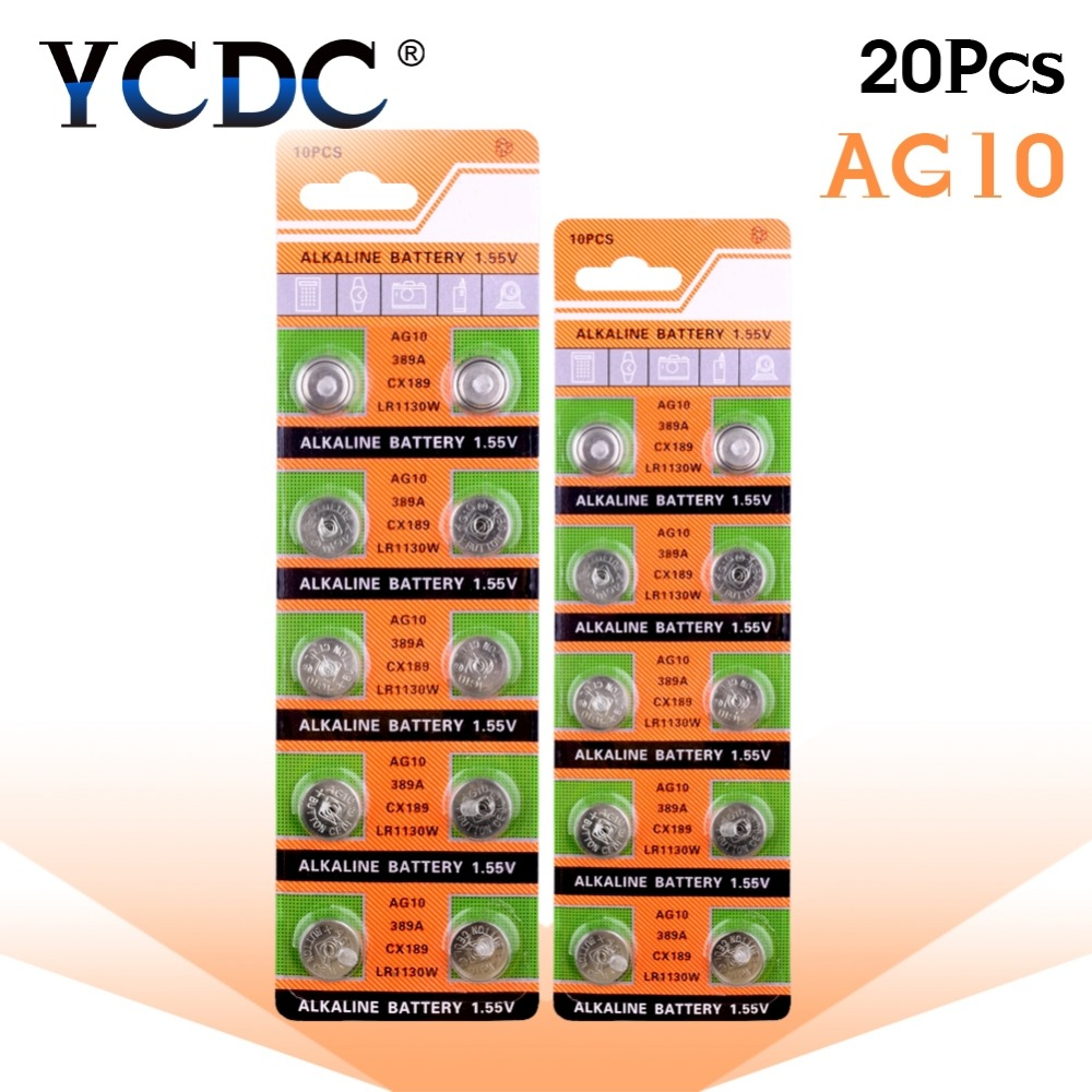 YCDC Dropshipping 20pcs AG10 Cell Coin Battery LR1130 V10GA Watch Button Coin 189 389 390 LR54 Batteries + Hot Selling+50% off цена