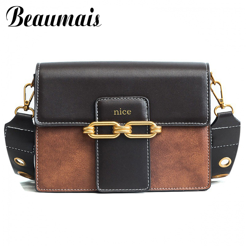 Beaumais Fashion Women Leather Handbags With Two Straps Patch Work Shoulder Bags For Women Messenger Bag Female DF0466
