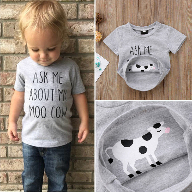T-Shirts Animal Short-Sleeve Newborn Girl Baby-Boys Kids Cotton Summer UK Tee