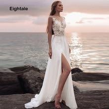 d312770dc Eightale playa vestidos de boda o-Cuello Apliques de encaje de gasa falda  lateral novia
