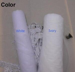 Image 2 - Nova uma camada 4 metros bling lantejoulas borda do laço de luxo longo véus casamento com pente alta qualidade branco marfim véu nupcial