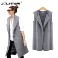 Black/Gray 2016 New Spring Womens Vest Coat Plus Size 5XL Sleeveless Cardigan Long Vest Jacket Feminina Streetwear Waistcoat