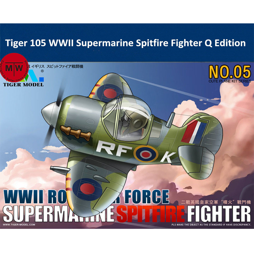Tiger Model 105 WWII Royal Air Force Spitfire Fighter Q Edition Cute Series Plastic Airplane Aircraft Assembly Model Kit image