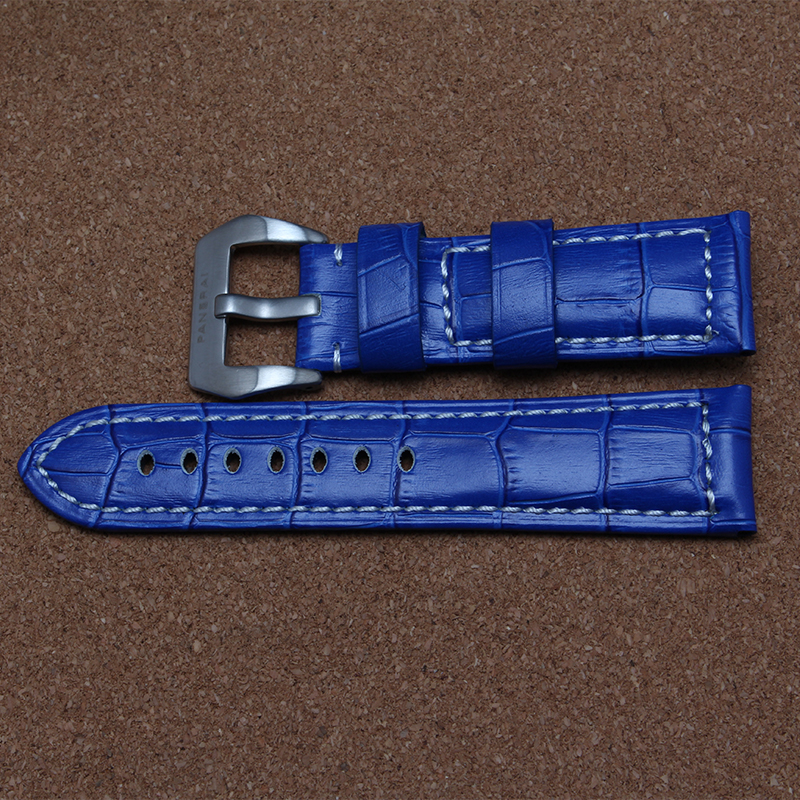 Watches Man Watchband strap Genuine leather Blue Watch Accessories 22mm 24mm 26mm Silver steel buckle clasp promotion for hours