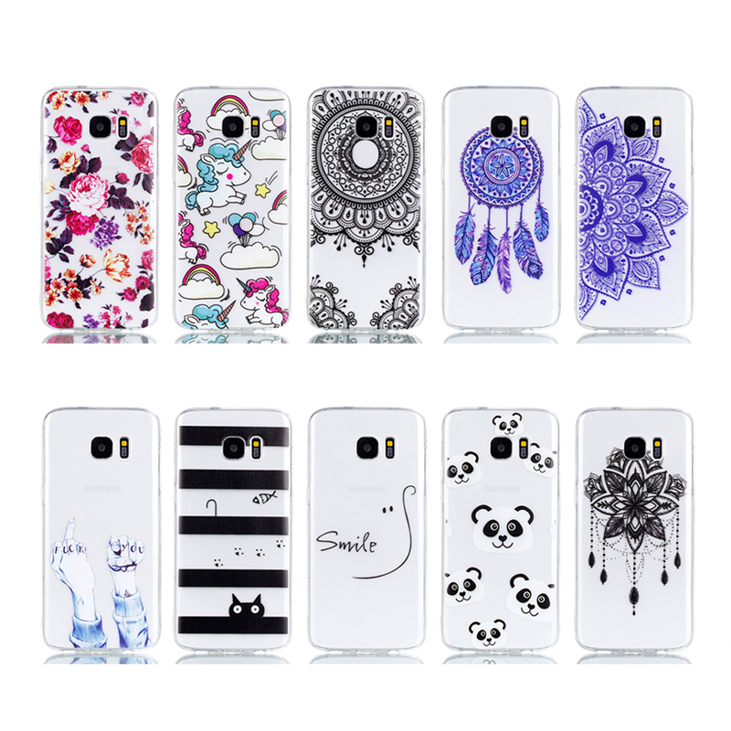 ProElite Cute Flower Cat Panda Unicorn Animal Back Cover for Samsung Galaxy S7 Clear Soft TPU Painted Shell for Samsung S7 Edge