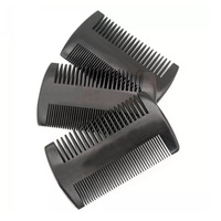 100PCS Natural Peach Wood Two Side Fine Tooth Black Color Small Comb For Men Beard & Women Hair Care Engraved Logo