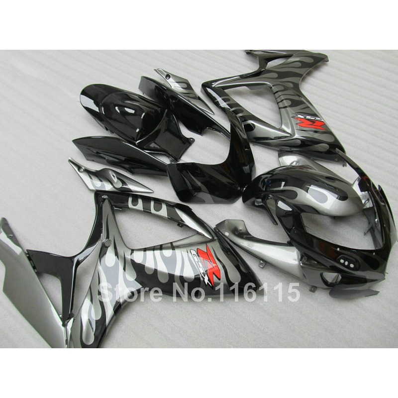 Injection mold Motorcycle fairing kit for SUZUKI GSXR 600 750 K6 K7 2006 2007 gray flames black GSXR600 GSXR750 06 07 fairings s new motorcycle ram air intake tube duct for suzuki gsxr600 gsxr750 2006 2007 k6 abs plastic black