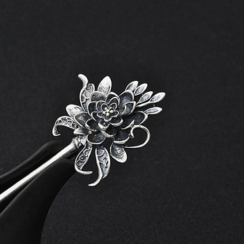 Peony Flowers Hair Stick 925 Sterling Silver Jewelry Women Ethnic Vintage Hair Pins Chinese Handmade Genuine Real Silver Hairpin
