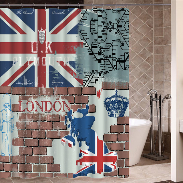 Online Shop London Flag Bathroom Kitchen Shower Curtains with Hooks ...