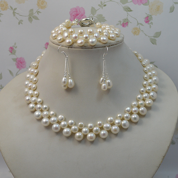 Natural Pearl Jewellery Set White Color Woman Freshwater Necklace Bracelet Earrings 925 Silver Fine In Jewelry Sets From