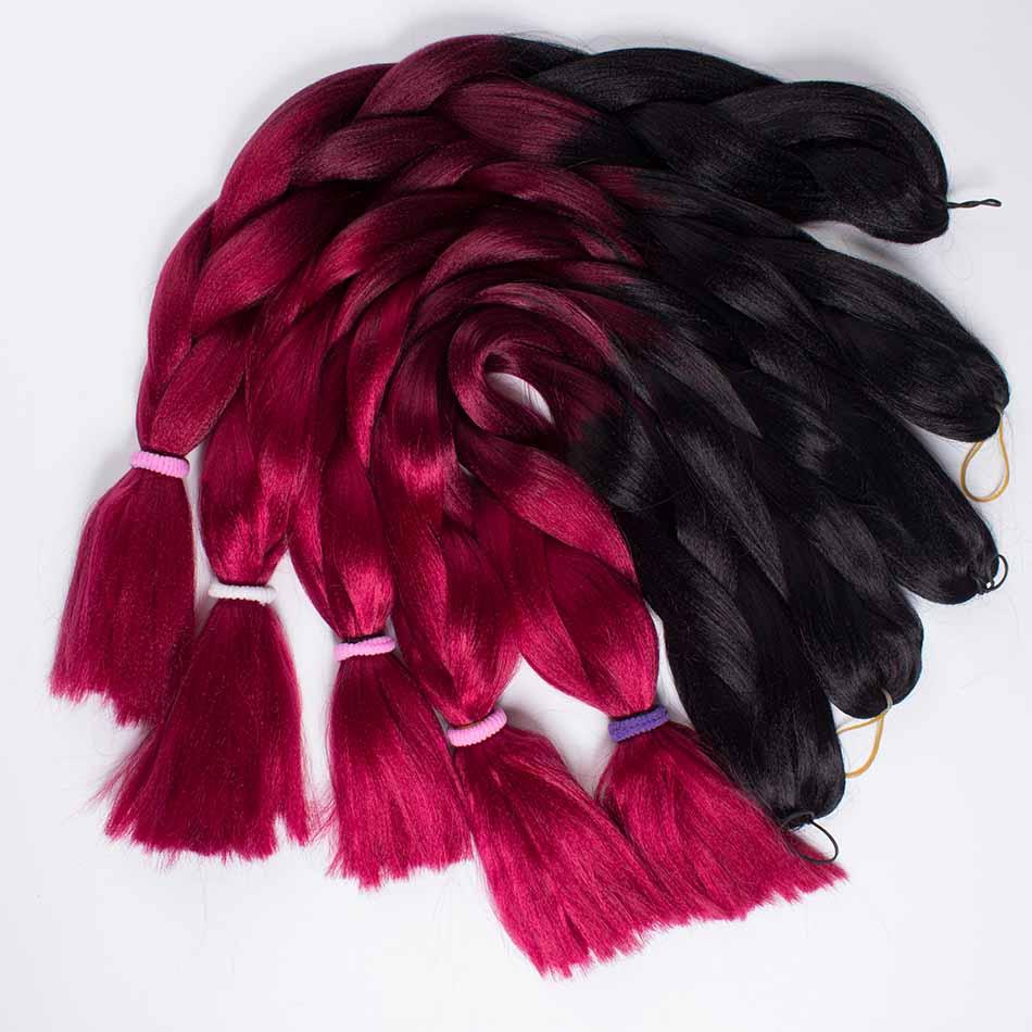 """Qp волосы 24 """"100 г Ombre Рыжий три тона Моноволокно джамбо коса синтетических канекалон крючком, плетение волос"""
