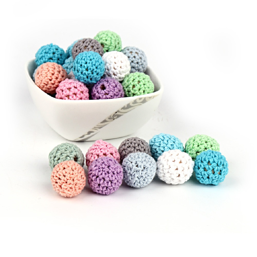 TYRY.HU 20Pcs Natural Wooden Crochet Beads Chewable Tooth Nursing Necklace Teething Beads Baby Teether Toys Baby Shower Gifts