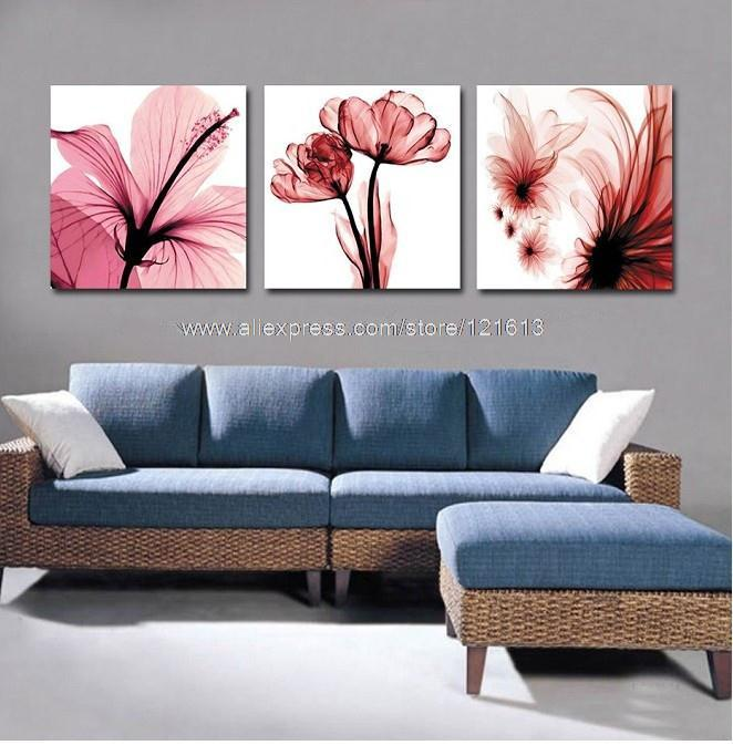 3 Panels Free Shipping Canvas Oil Painting Set Red Flower Living Decor Room Wall Modern Art Rolls In Calligraphy From