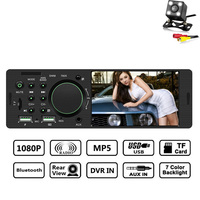 1 Din Car Radio Audio Stereo FM Radio Bluetooth MP5 Player with Rear View Camera Non CD USB AUX Radio Car Stereo