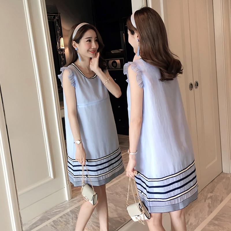 Preppy Style Striped Maternity Clothes Pregnancy Dress Patchwork Fashion Pregnancy Clothing Of Pregnant Women Chiffon