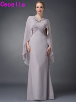 Silver Gray Long Mermaid Floor Chiffon Mother Of The Bride Dresses With Capes V Neck Ruched Sleeveless Wedding Party Dress