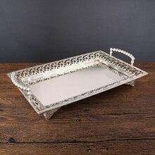 Роскошный металлический поднос vassoio rettangolo с серебряным золотым покрытием, поднос для десерта с ручкой, свадебные, вечерние, для ресторана, 597