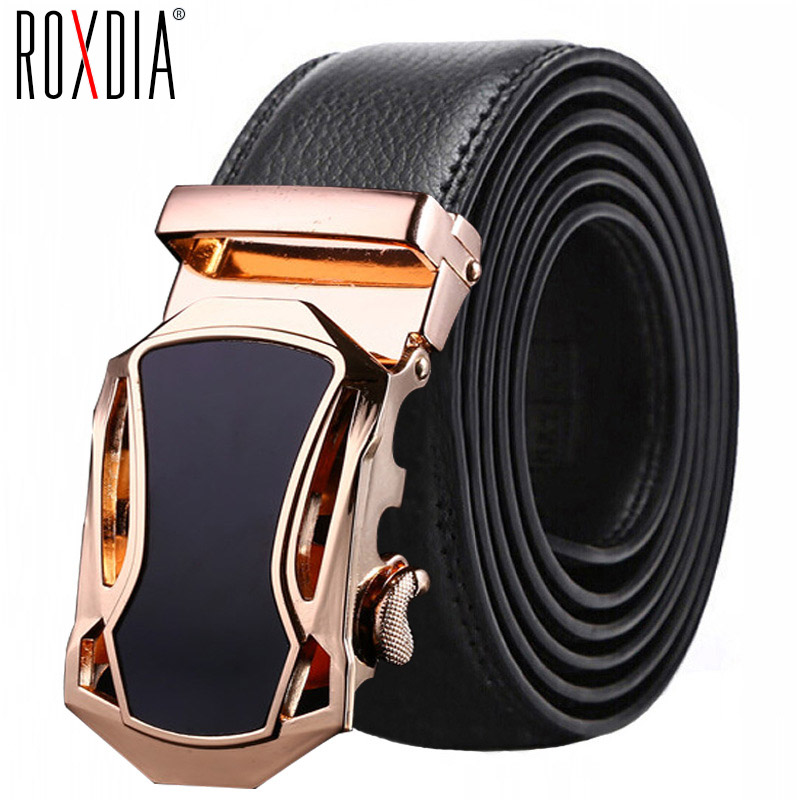 Men's   Belt   Leather   Belts   Fashion casual Automatic Buckle Black Leather   Belts   for Men 4CM Width Plus Size 110-130CM RXMB001