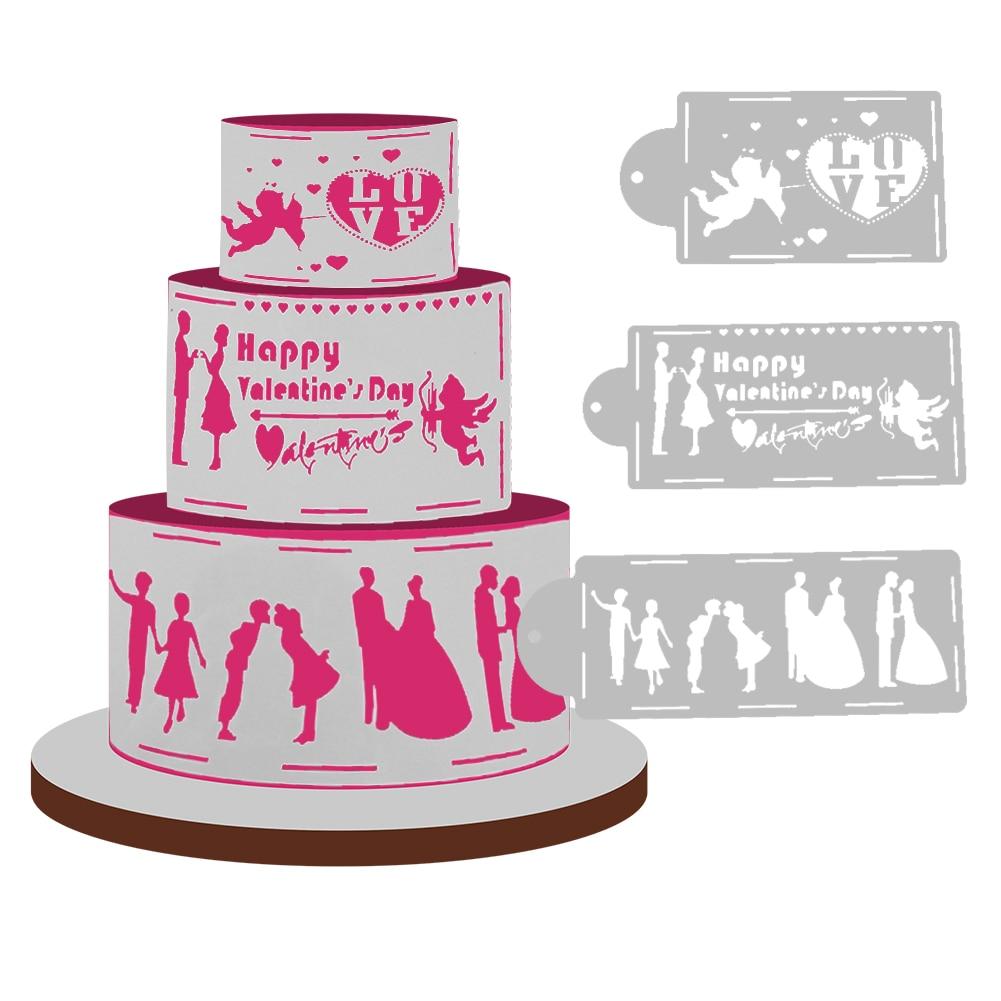 3pcs/lot Love Silhouette Cake Stencils Wedding Cake Decorating Tools ...