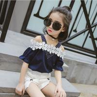 2018 Summer Girl T Shirt Shorts Two Piece Sets Kids Clothes Children Clothing Girls Sets Cotton